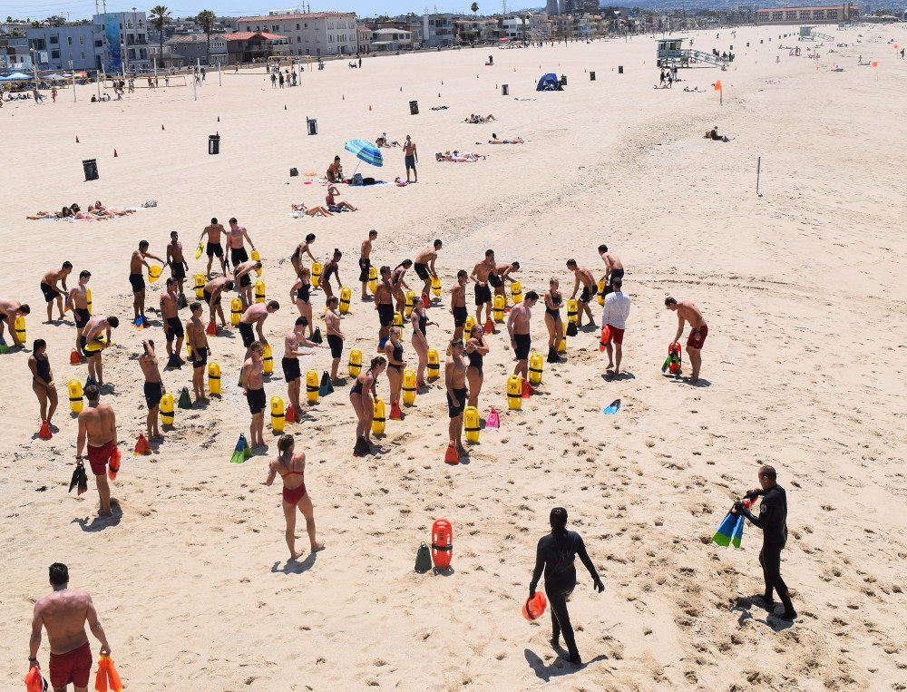 Lifeguard training south of Hermosa Beach Pier