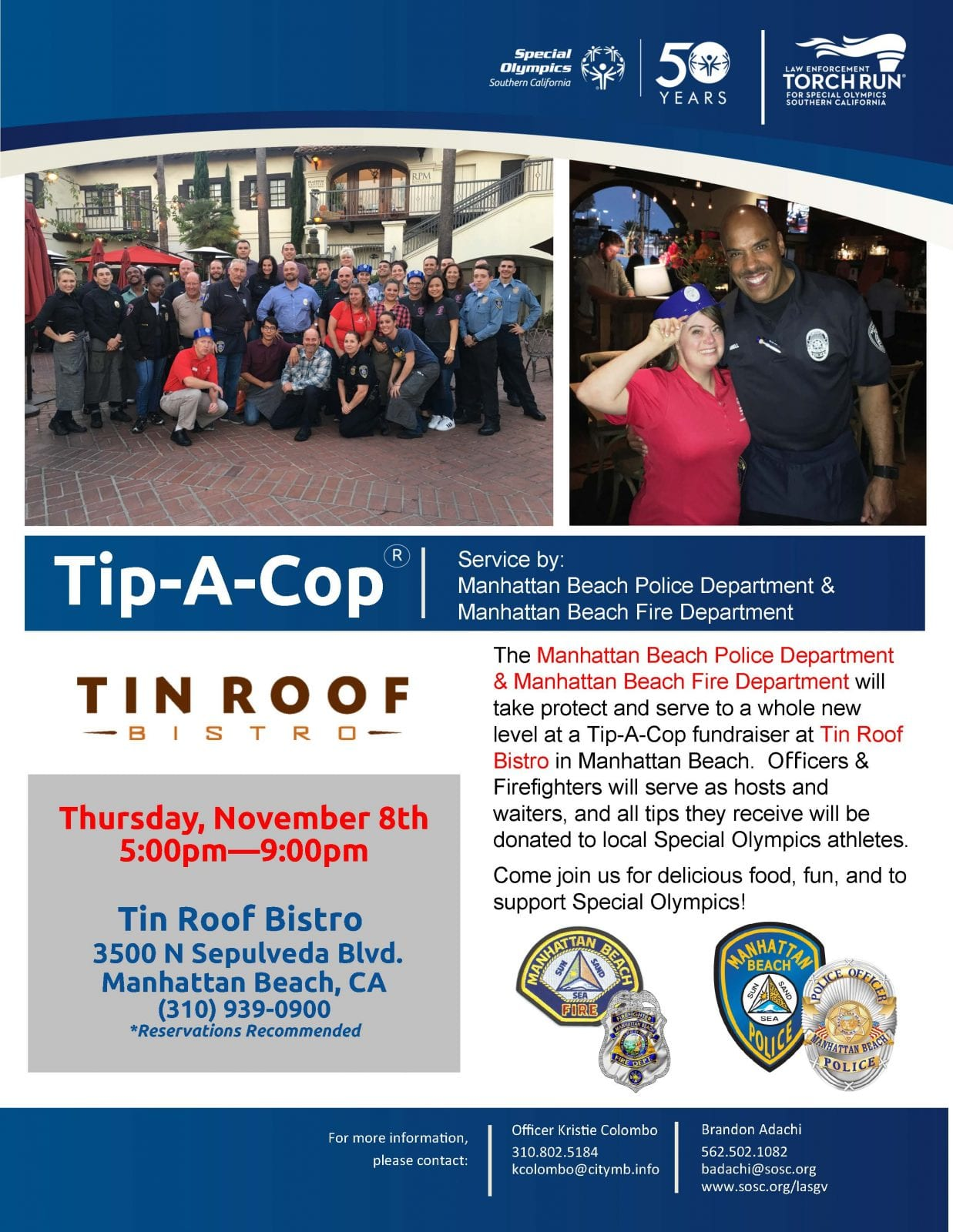 Tip A Cop At Tin Roof Bistro South Bay Events